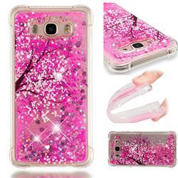 Pink Cherry Blossom Dynamic Liquid Glitter Sand Quicksand Star TPU Case for Samsung Galaxy J7 2016 J710