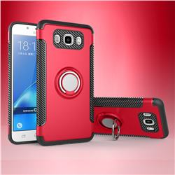 Armor Anti Drop Carbon PC + Silicon Invisible Ring Holder Phone Case for Samsung Galaxy J7