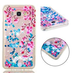 Blue Plum Blossom Dynamic Liquid Glitter Quicksand Soft TPU Case for Samsung Galaxy J7 2016 J710