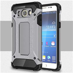 King Kong Armor Premium Shockproof Dual Layer Rugged Hard Cover for Samsung Galaxy J7 2016 J710 - Silver Grey