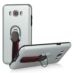 Raytheon Multi-function Ribbon Stand Back Cover for Samsung Galaxy J7 2016 J710 - Silver