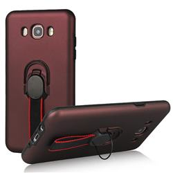 Raytheon Multi-function Ribbon Stand Back Cover for Samsung Galaxy J7 2016 J710 - Wine Red
