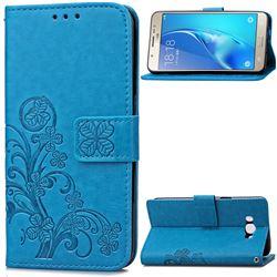 Embossing Imprint Four-Leaf Clover Leather Wallet Case for Samsung Galaxy J7 2016 J710 - Blue