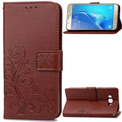 Embossing Imprint Four-Leaf Clover Leather Wallet Case for Samsung Galaxy J7 2016 J710 - Brown