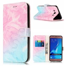 Pink Green Marble PU Leather Wallet Case for Samsung Galaxy J7 2016 J710