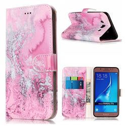 Pink Seawater PU Leather Wallet Case for Samsung Galaxy J7 2016 J710