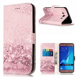 Glittering Rose Gold PU Leather Wallet Case for Samsung Galaxy J7 2016 J710