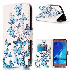 Blue Vivid Butterflies PU Leather Wallet Case for Samsung Galaxy J7 2016 J710