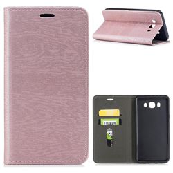 Tree Bark Pattern Automatic suction Leather Wallet Case for Samsung Galaxy J7 2016 J710 - Rose Gold