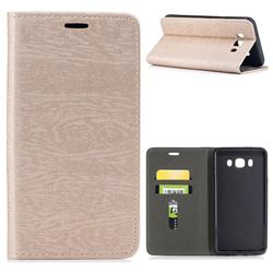 Tree Bark Pattern Automatic suction Leather Wallet Case for Samsung Galaxy J7 2016 J710 - Champagne Gold