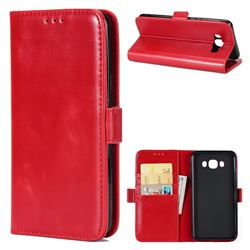 Luxury Crazy Horse PU Leather Wallet Case for Samsung Galaxy J7 2016 J710 - Red