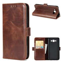 Luxury Crazy Horse PU Leather Wallet Case for Samsung Galaxy J7 2016 J710 - Coffee
