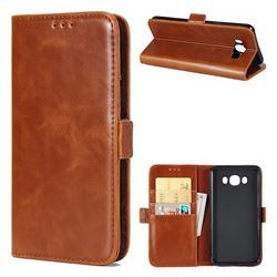 Luxury Crazy Horse PU Leather Wallet Case for Samsung Galaxy J7 2016 J710 - Brown