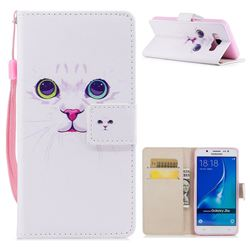 White Cat PU Leather Wallet Case for Samsung Galaxy J7 2016 J710