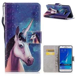 Blue Unicorn PU Leather Wallet Case for Samsung Galaxy J7 2016 J710