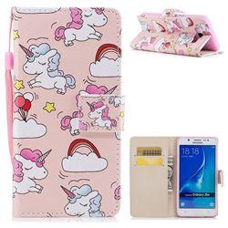 Rainbow Unicorn PU Leather Wallet Case for Samsung Galaxy J7 2016 J710