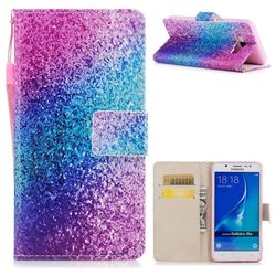 Rainbow Sand PU Leather Wallet Case for Samsung Galaxy J7 2016 J710