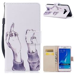 Middle Finger PU Leather Wallet Case for Samsung Galaxy J7 2016 J710