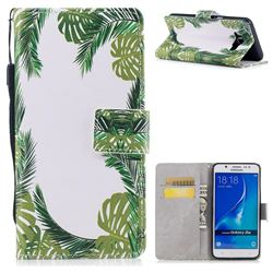 Green Leaves PU Leather Wallet Case for Samsung Galaxy J7 2016 J710