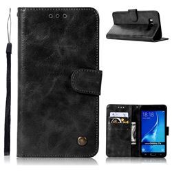 Luxury Retro Leather Wallet Case for Samsung Galaxy J7 2016 J710 - Black