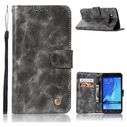 Luxury Retro Leather Wallet Case for Samsung Galaxy J7 2016 J710 - Gray