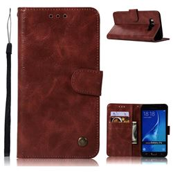 Luxury Retro Leather Wallet Case for Samsung Galaxy J7 2016 J710 - Wine Red