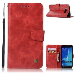 Luxury Retro Leather Wallet Case for Samsung Galaxy J7 2016 J710 - Red