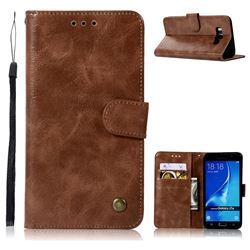 Luxury Retro Leather Wallet Case for Samsung Galaxy J7 2016 J710 - Brown
