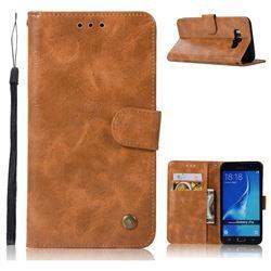 Luxury Retro Leather Wallet Case for Samsung Galaxy J7 2016 J710 - Golden