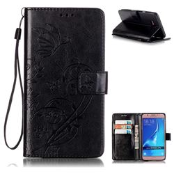 Embossing Butterfly Flower Leather Wallet Case for Samsung Galaxy J7 2016 J710 - Black