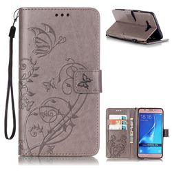Embossing Butterfly Flower Leather Wallet Case for Samsung Galaxy J7 2016 J710 - Grey