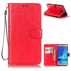 Embossing Butterfly Flower Leather Wallet Case for Samsung Galaxy J7 2016 J710 - Red