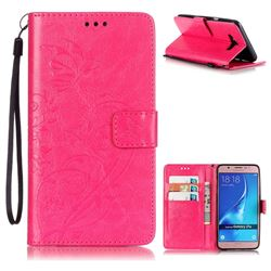 Embossing Butterfly Flower Leather Wallet Case for Samsung Galaxy J7 2016 J710 - Rose