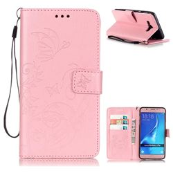 Embossing Butterfly Flower Leather Wallet Case for Samsung Galaxy J7 2016 J710 - Pink
