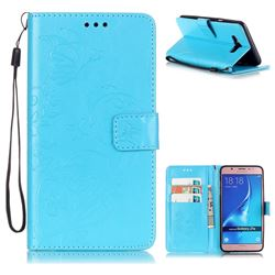 Embossing Butterfly Flower Leather Wallet Case for Samsung Galaxy J7 2016 J710 - Blue