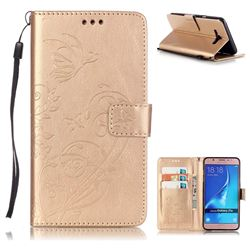Embossing Butterfly Flower Leather Wallet Case for Samsung Galaxy J7 2016 J710 - Champagne