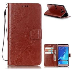 Embossing Butterfly Flower Leather Wallet Case for Samsung Galaxy J7 2016 J710 - Brown