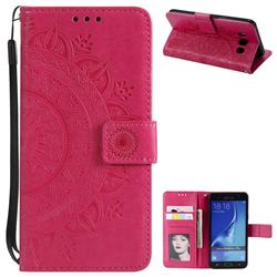 Intricate Embossing Datura Leather Wallet Case for Samsung Galaxy J7 2016 J710 - Rose Red