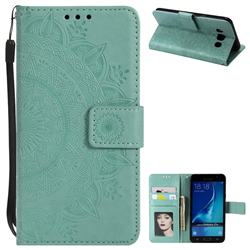 Intricate Embossing Datura Leather Wallet Case for Samsung Galaxy J7 2016 J710 - Mint Green