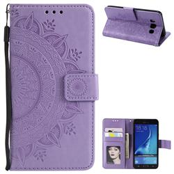 Intricate Embossing Datura Leather Wallet Case for Samsung Galaxy J7 2016 J710 - Purple