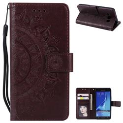 Intricate Embossing Datura Leather Wallet Case for Samsung Galaxy J7 2016 J710 - Brown