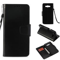 Retro Phantom Smooth PU Leather Wallet Holster Case for Samsung Galaxy J7 2016 J710 - Black