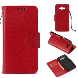 Retro Phantom Smooth PU Leather Wallet Holster Case for Samsung Galaxy J7 2016 J710 - Red