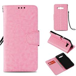 Retro Phantom Smooth PU Leather Wallet Holster Case for Samsung Galaxy J7 2016 J710 - Pink