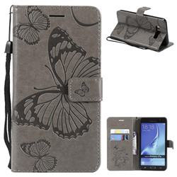 Embossing 3D Butterfly Leather Wallet Case for Samsung Galaxy J7 2016 J710 - Gray