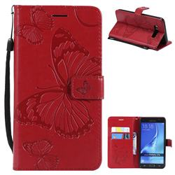 Embossing 3D Butterfly Leather Wallet Case for Samsung Galaxy J7 2016 J710 - Red