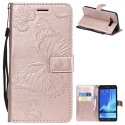 Embossing 3D Butterfly Leather Wallet Case for Samsung Galaxy J7 2016 J710 - Rose Gold
