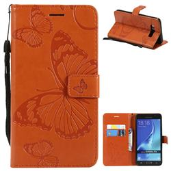 Embossing 3D Butterfly Leather Wallet Case for Samsung Galaxy J7 2016 J710 - Orange