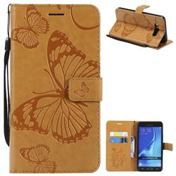 Embossing 3D Butterfly Leather Wallet Case for Samsung Galaxy J7 2016 J710 - Yellow