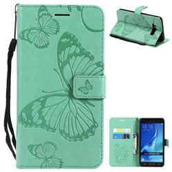 Embossing 3D Butterfly Leather Wallet Case for Samsung Galaxy J7 2016 J710 - Green